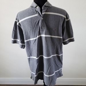 B2G1 Men's Tommy Hilfiger Gray/White Striped Polo